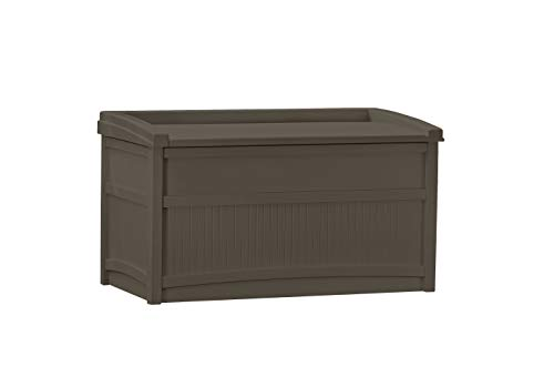 Suncast 50-Gallon Medium Deck Box - Lightweight Resin Indoor/Outdoor Storage Container and Seat for...