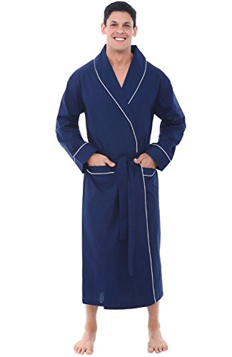 Alexander Del Rossa Mens Lightweight Cotton Robe, XL Navy Blue (A0715MBLXL)