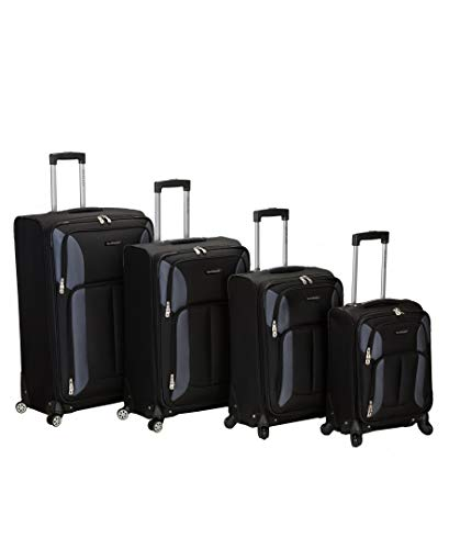 Rockland Impact Softside Spinner Wheel Luggage Set, Black, 4-Piece (18/22/26/30)