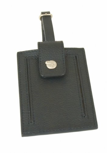 Travelon Leather Luggage Tag, Black, One Size