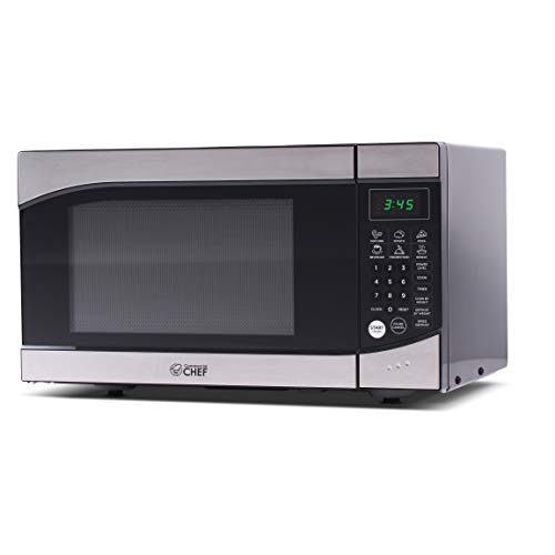Commercial Chef CHM009 Countertop Microwave Oven 900 Watt, 0.9 Cubic Feet, Stainless Steel Front,...