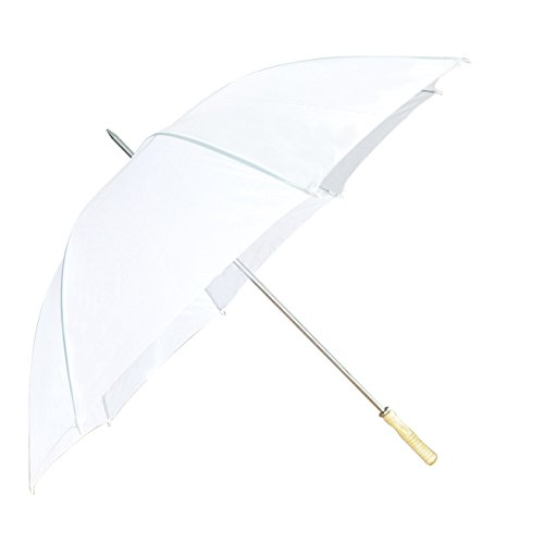 Wedding Umbrella - White - 60' Across - Rip-Resistant Polyester - Auto Open - Light Strong Metal...