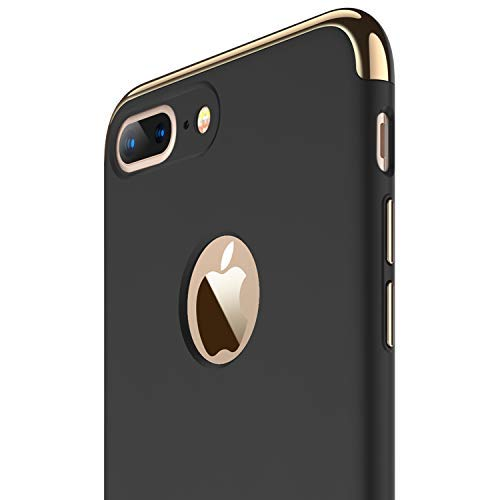RANVOO iPhone 7 Plus Case, Slim Fit Thin Hard Stylish Cover 3 in 1 Detachable Case, Black [Clip-ON...