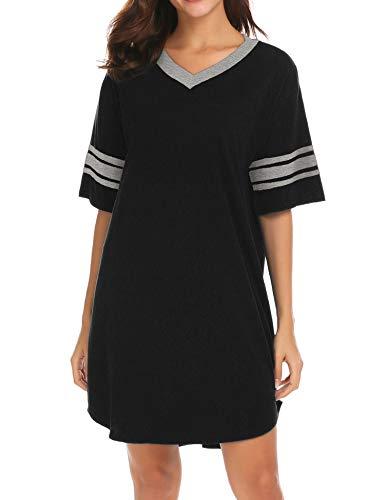 Ekouaer Women's Nightgown, Cotton Novelty Sleepshirts V Neck Short Sleeve Sleep Shirt Loose Comfy...