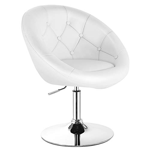 Costway Swivel Accent Chair, Contemporary Makeup Chair with Chrome Frame, Height-Adjustable, Tufted...