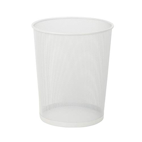 Honey-Can-Do TRS-02120 Steel Mesh Powder-Coated Waste Basket, White, 18-Liter/4.7-Gallon Capacity,...