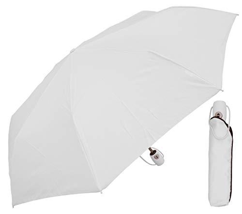 RainStoppers Auto Open Auto Close Deluxe Mini Umbrella, White, 42-Inch (W035W)