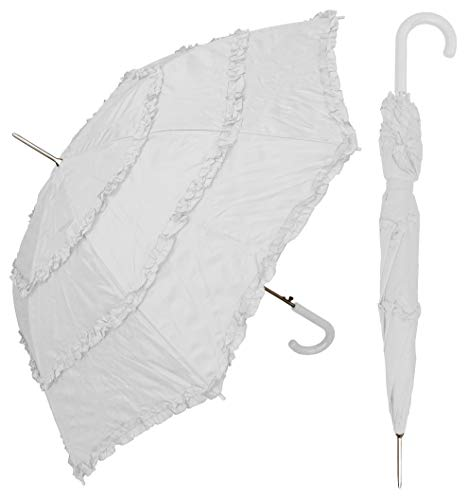 RainStoppers 48' Auto Open White Parasol Umbrella with 3-Ruffles