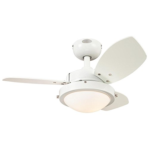 Westinghouse Lighting 7247200 Wengue Ceiling Fan with Light, 30 Inch, White