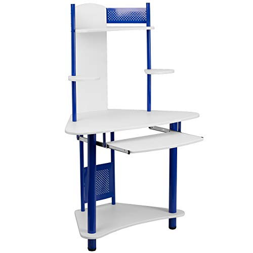 Flash Furniture Blue Corner Computer Desk with Hutch , White/Blue -,