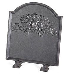 Plow & Hearth 33896 Cast Iron Fireback with Oak Leaf Design, 17-3/4W x 1D x 19-3/4H, Black