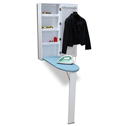 Organizedlife Brown Hide Away Ironing Board Center Cabinet Wall Mount with Mirrored Door