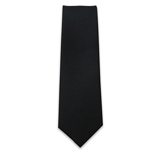 Cascadia Unlimited Men's Solid Black Matte 2' SKINNY Tie + White Pocket Square