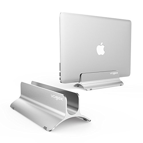 VOGEK Vertical Laptop Stand, MacBook Holder Adjustable Size Desktop Space-Saving Notebook Holder...