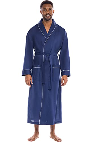 Alexander Del Rossa Men's Robe, Woven Cotton Robe for Men, Lightweight Bathrobe with Two Front...