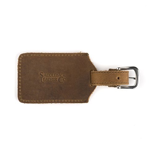 Saddleback Leather Co. Strong Full Grain Leather Luggage Travel Bag Tag Stainless Steel Hardware...