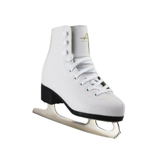 American Athletic Shoe Girl's Tricot Lined Ice Skates, White, 13