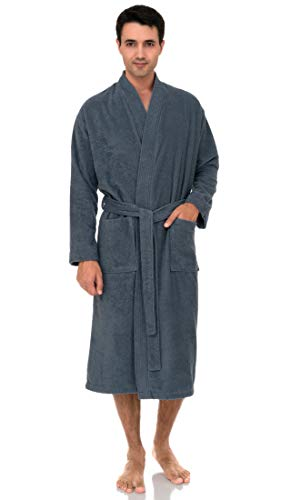 TowelSelections Men's Robe, Turkish Cotton Terry Kimono Bathrobe X-Large/XX-Large Flint Stone
