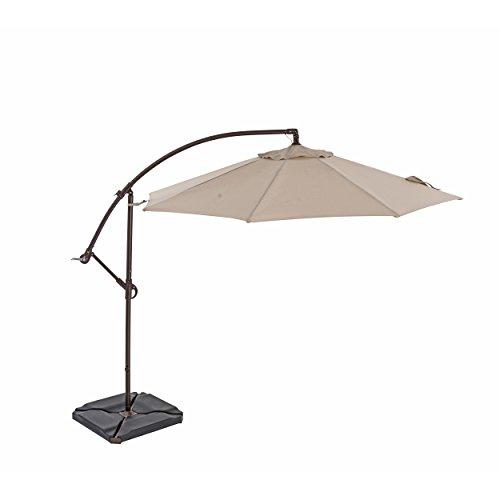 TrueShade Plus 10' Cantilever Round Umbrella with Light - Antique Beige