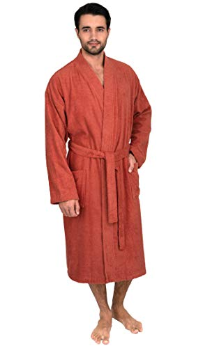 TowelSelections Mens Robe, Turkish Cotton Terry Kimono Bathrobe X-Large/XX-Large Ginger Spice