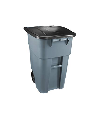 Rubbermaid Commercial Products FG9W2700GRAY BRUTE Rollout Heavy-Duty Wheeled Trash/Garbage Can,...