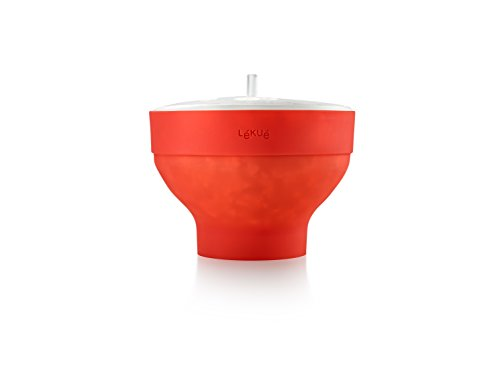 Lekue Microwave Popcorn Popper/ Popcorn Maker, Red
