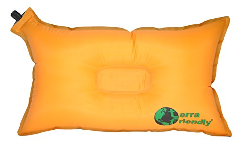 Self Inflating Travel Pillow with Premium Camping Pillow Case, Handcrafted in USA, Compressible for...