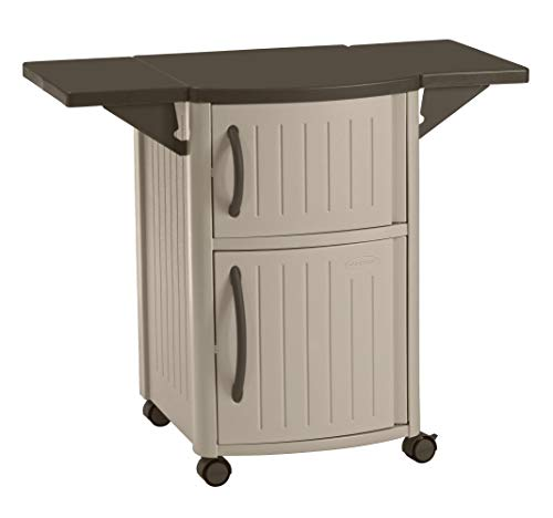 Suncast Outdoor Grilling Prep Station - Portable Outdoor BBQ Entertainment Storage Table Prep...