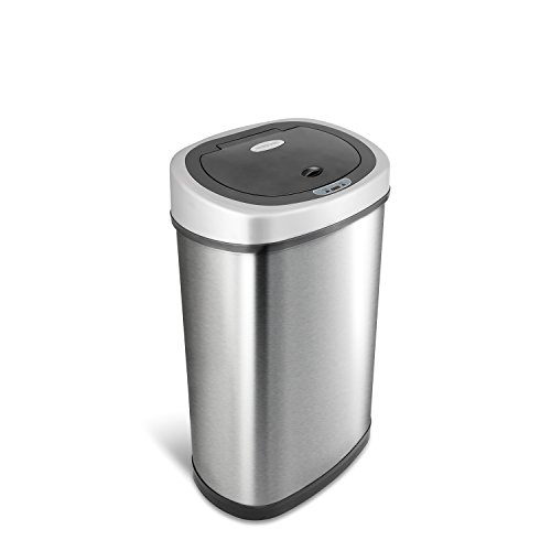 NINESTARS DZT-50-9 Automatic Touchless Infrared Motion Sensor Trash Can, 13 Gal 50L, Stainless Steel...