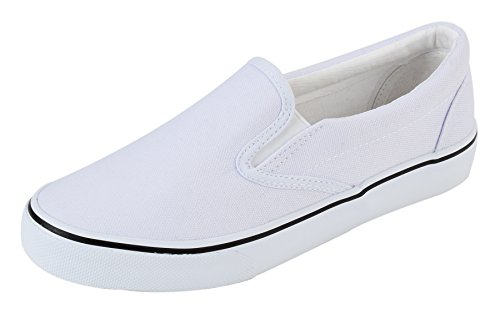 UJoowalk Womens White Comfortable Casual Canvas Slip On Fashion Sneakers Loafers Walking Skate Shoes...