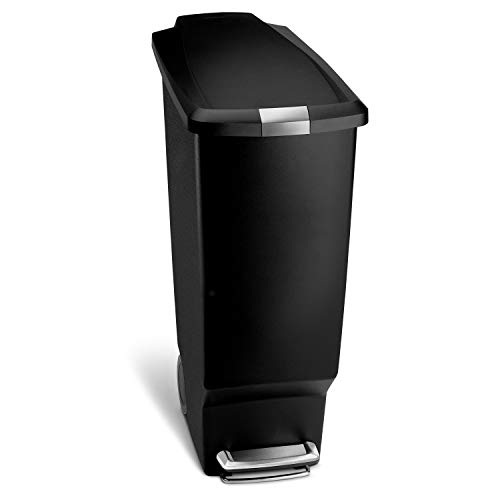 simplehuman 40 Liter / 10.6 Gallon Slim Kitchen Step Trash Can, Black Plastic Bin With Secure Slide...
