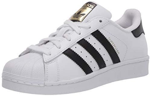 adidas Originals Kids' Superstars Running Shoe, White/Black, 4 M US