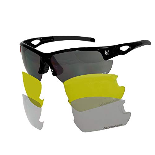 VeloChampion Tornado Cycling Running Sports Sunglasses - Red with 3 Sets of Lenses and Soft Pouch...