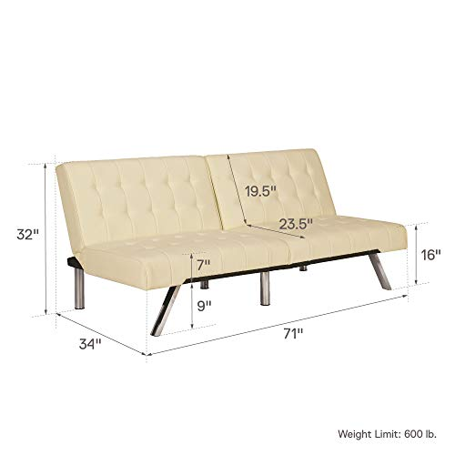 DHP Emily Futon Sofa Bed, Modern Convertible Couch With Chrome Legs Quickly Converts into a Bed,...