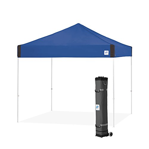 E-Z UP PR3WH10RB Pyramid Shelter, 10' x 10' with Wide-Trax Roller Bag & 4 Piece Spike Set, Royal...
