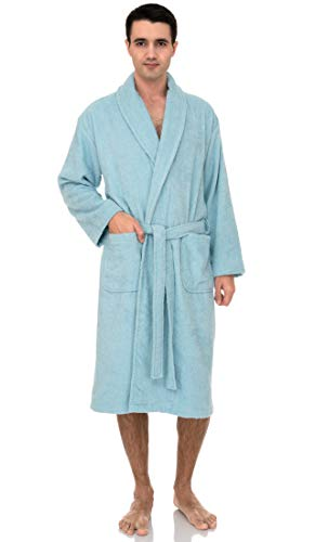 TowelSelections Men's Robe, Turkish Cotton Terry Shawl Bathrobe X-Large/XX-Large S. Lake Blue