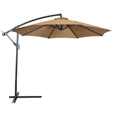 Legendary-Yes 10 Foot Out Door Deck Patio Umbrella Off Set Tilt Cantilever Hanging Canopy Tan