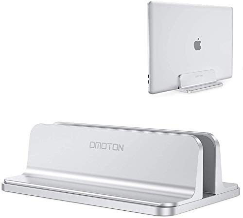 Vertical Laptop Stand Holder, OMOTON Desktop Aluminum MacBook Stand with Adjustable Dock Size, Fits...