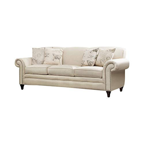 Norah Sofa with Nail Head Trim Oatmeal