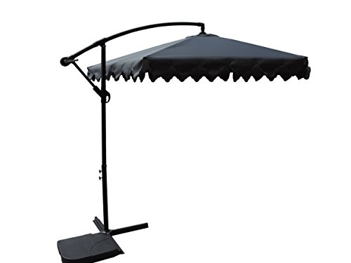 Pebble Lane Living 10' Offset Cantilever Patent Opening Patio Turning Vented Market Umbrella - Grey