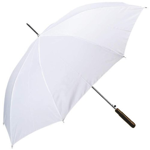 Classic Design All-Weather 48' Sports Auto Open Umbrella with Wooden Handle, White Color
