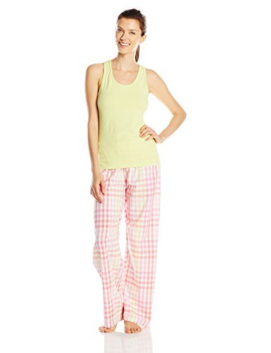 Hanes Women's Ladies Tank with Woven Sleep Pant Pajama Set, Green, Large
