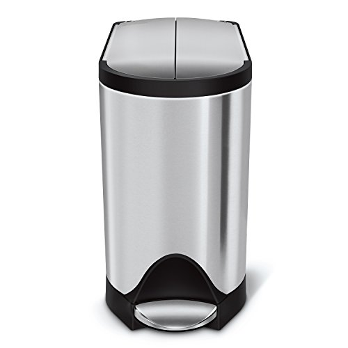 simplehuman CW1899 Butterfly Lid Bathroom Step Trash Can, Brushed Stainless Steel, 10 Liter (Pack of...