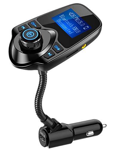 Nulaxy Bluetooth Car FM Transmitter Audio Adapter Receiver Wireless Hands Free Car Kit W 1.44 Inch...