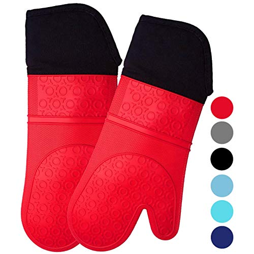 HOMWE Extra Long Professional Silicone Oven Mitt, Oven Mitts with Quilted Liner, Heat Resistant Pot...