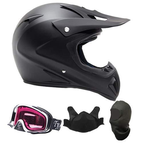Adult Snocross Snowmobile Helmet & Goggle Combo - Matte Black, White (Medium)