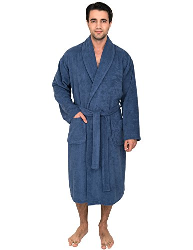 TowelSelections Men's Robe, Turkish Cotton Terry Shawl Bathrobe X-Large/XX-Large S. Lake Blue