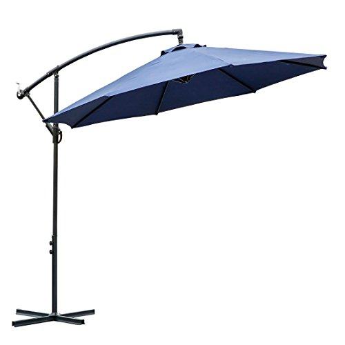 FARLAND 10 ft Offset Cantilever Patio Umbrella Outdoor Market Hanging Umbrellas & Crank with Cross...