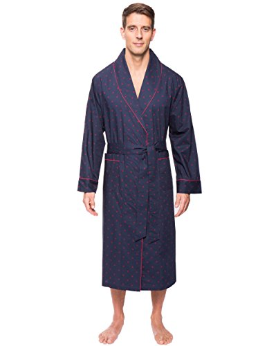 Noble Mount Men's Cotton Robe - Diamond Checks Black/Red - L/XL