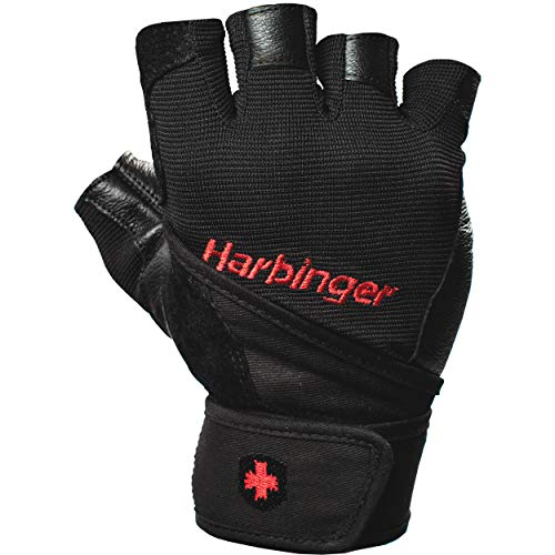 Harbinger Pro Wristwrap Weightlifting Gloves with Vented Cushioned Leather Palm (Pair)